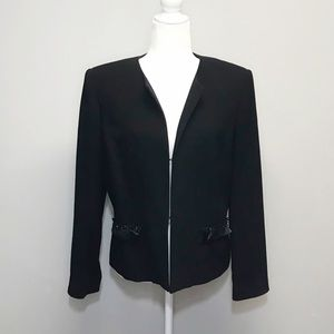 Albert Nipon | Black Wool Blazer w/Beaded Pockets